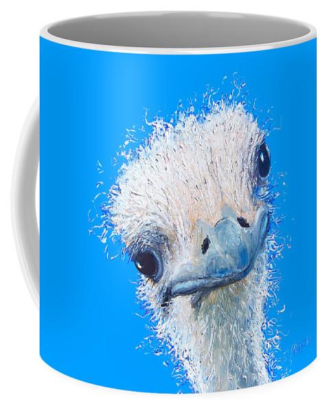 Emu Coffee Mug featuring the painting Emu Painting by Jan Matson