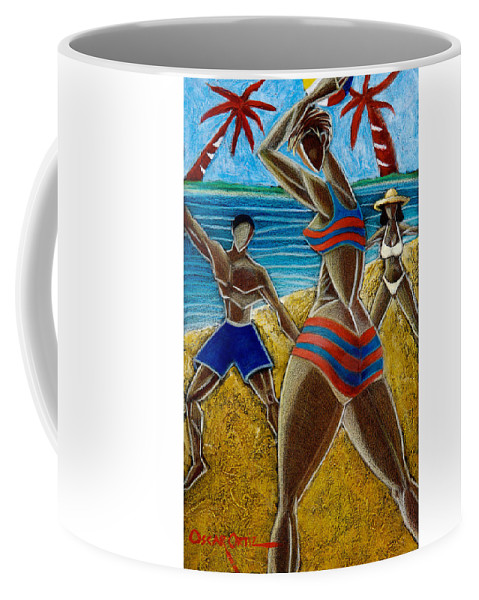 Beach Coffee Mug featuring the painting En Luquillo Se Goza by Oscar Ortiz