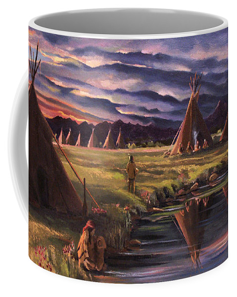 Native American Coffee Mug featuring the painting Encampment at Dusk by Nancy Griswold