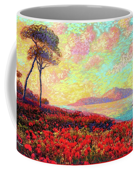 Floral Coffee Mug featuring the painting Enchanted by Poppies by Jane Small