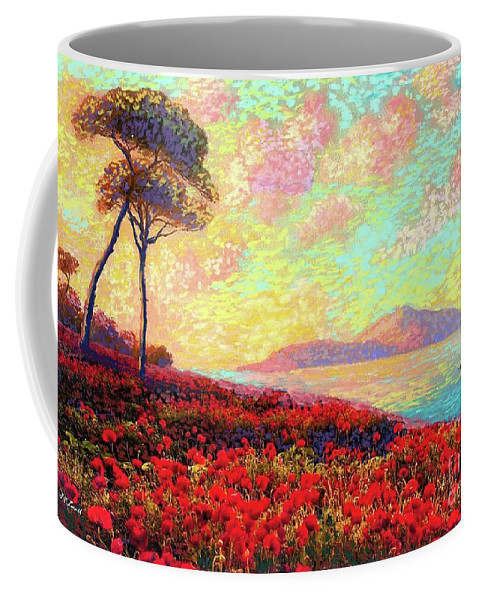 Wildflower Coffee Mug featuring the painting Enchanted By Poppies by Jane Small