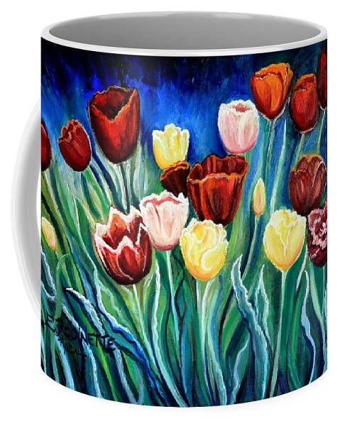 Tulips Coffee Mug featuring the painting Enchanted Tulips by Elizabeth Robinette Tyndall