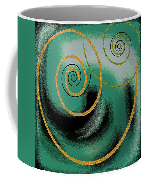 Green Abstract Coffee Mug featuring the digital art Encounter by Ben and Raisa Gertsberg