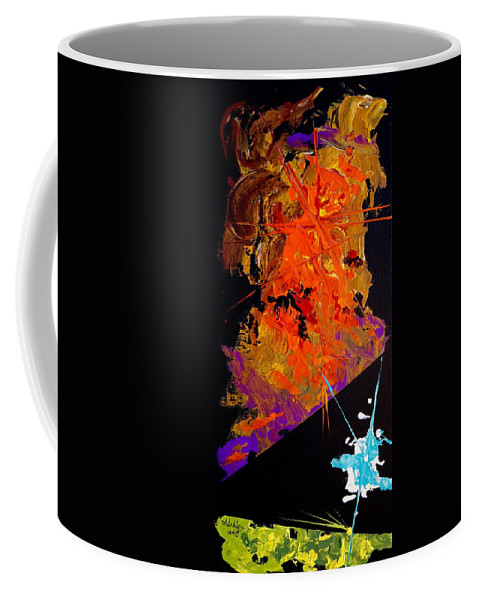 Abstract Coffee Mug featuring the painting Encounters by Alan Lakin