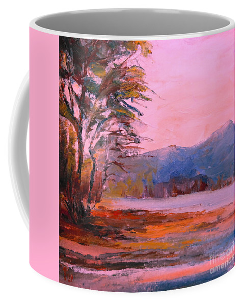 Landscape Coffee Mug featuring the painting End Of The Day 09 by Pusita Gibbs