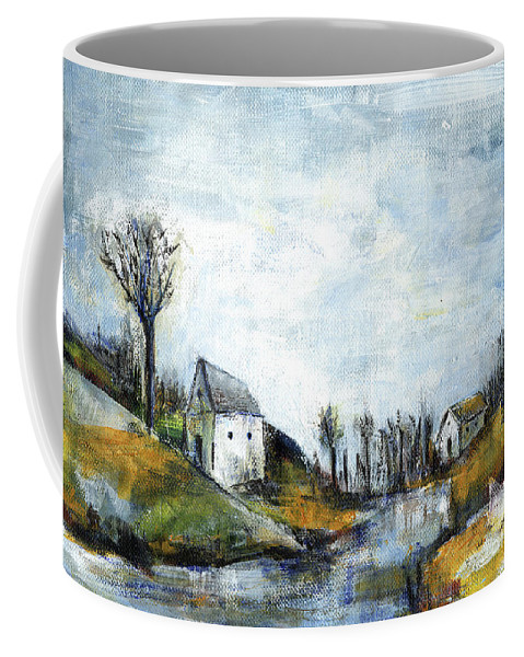Landscape Coffee Mug featuring the painting End Of Winter - Acrylic Landscape Painting On Cotton Canvas by Aniko Hencz
