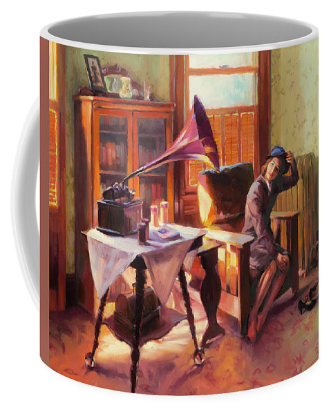 Nostalgia Coffee Mug featuring the painting Ending The Day On A Good Note by Steve Henderson