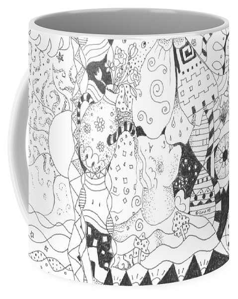 Blessings Coffee Mug featuring the drawing Endless Blessings by Helena Tiainen