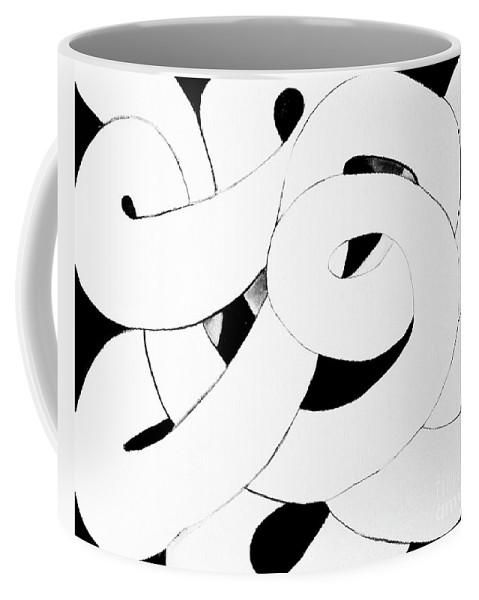Original Artwork .minimalist Design .dramatic White On Black Looping Coiling Tube .simple Elegant Fun . Coffee Mug featuring the painting Endless Loop by Expressionistart studio Priscilla Batzell