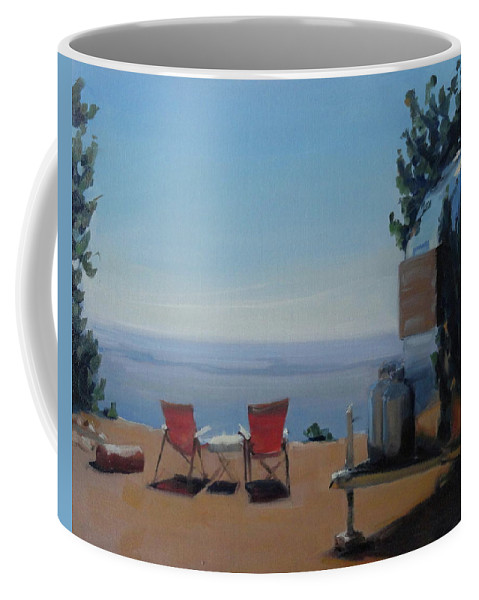 Airstream Coffee Mug featuring the painting Endless View Boondocking At The Grand Canyon by Elizabeth Jose