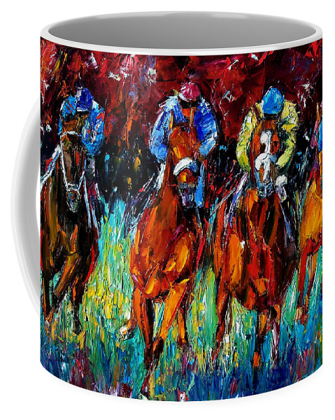Horse Race Coffee Mug featuring the painting Endurance by Debra Hurd