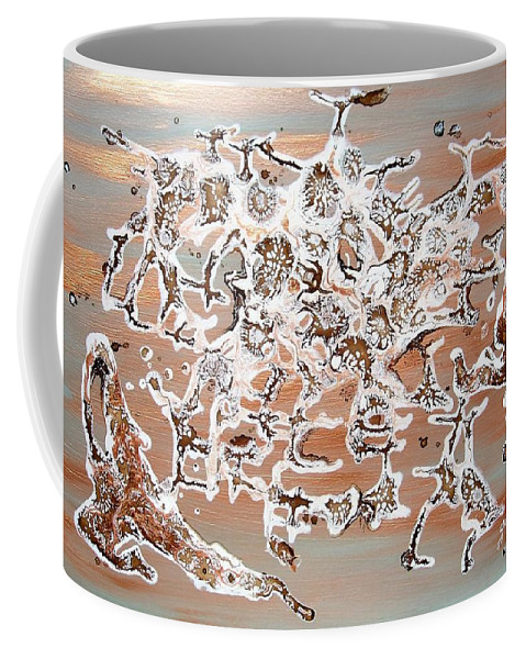 Abstract Mixed Media Coffee Mug featuring the painting Energy Dance by Georgeta Blanaru