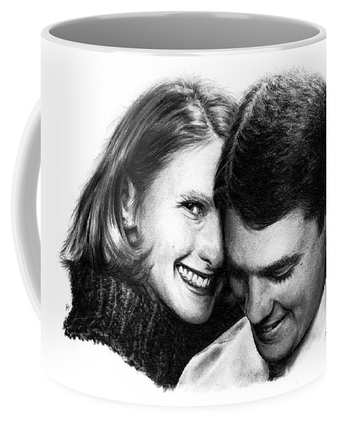 Portrait Coffee Mug featuring the drawing Engaged by Rachel Christine Nowicki