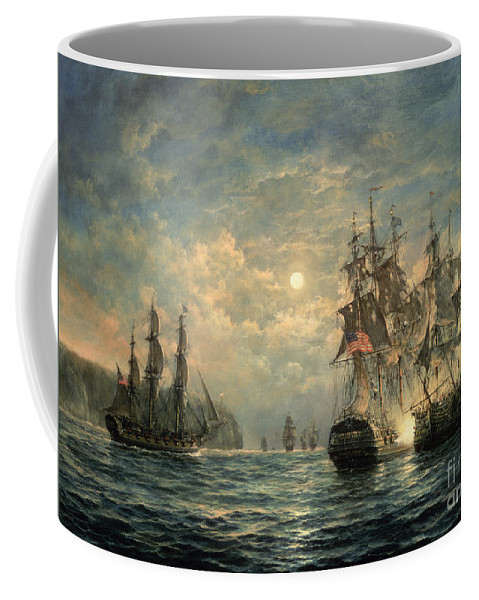 American War Of Independence Coffee Mug featuring the painting Engagement Between The 'bonhomme Richard' And The ' Serapis' Off Flamborough Head by Richard Willis