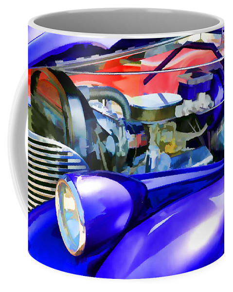 Automotive Coffee Mug featuring the painting Engine Compartment 11 by Jeelan Clark