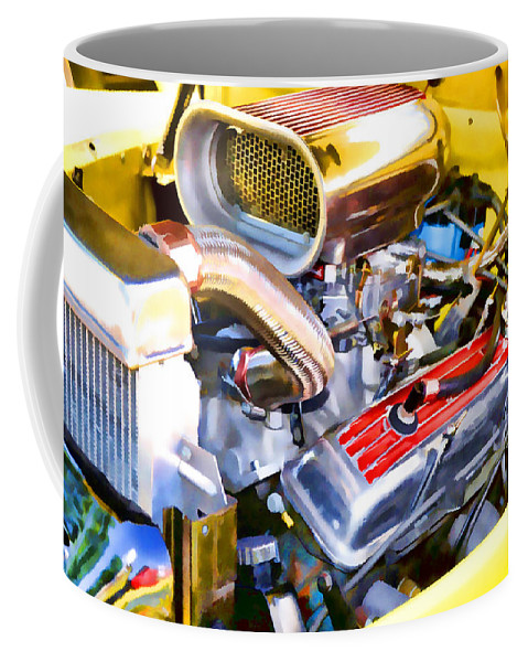 Automotive Coffee Mug featuring the painting Engine Compartment 5 by Jeelan Clark