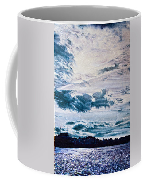 Skies Coffee Mug featuring the painting English Beach by Michel Angelo Rossi