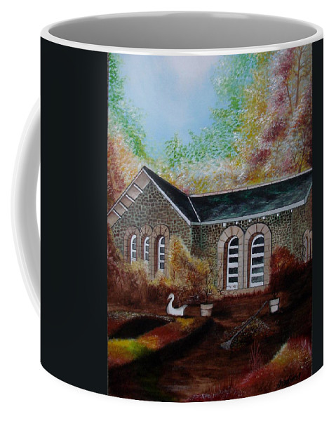 Autmn Coffee Mug featuring the painting English Cottage in the Autumn by Glory Fraulein Wolfe