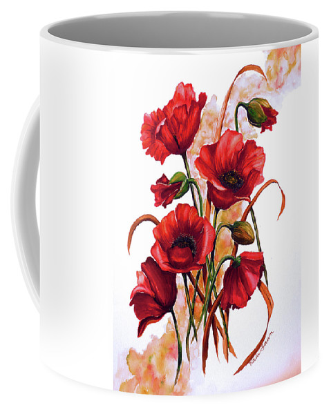 Red Poppies Paintings Floral Paintings Botanical Paintings Flower Paintings Poppy Paintings Field Poppy Painting Greeting Card Paintings Poster Print Painting Canvas Print Painting  Coffee Mug featuring the painting English Poppies 2 by Karin Dawn Kelshall- Best