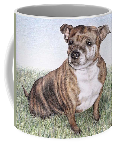 Dog Coffee Mug featuring the drawing English Staffordshire Terrier by Nicole Zeug