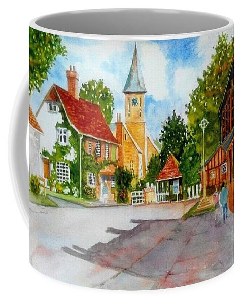 Landscape Coffee Mug featuring the painting English Village Street by Ramesh Mahalingam