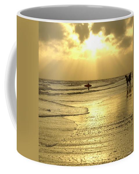 Beach Coffee Mug featuring the photograph Enjoying The Beach At Sunset by Jennifer White