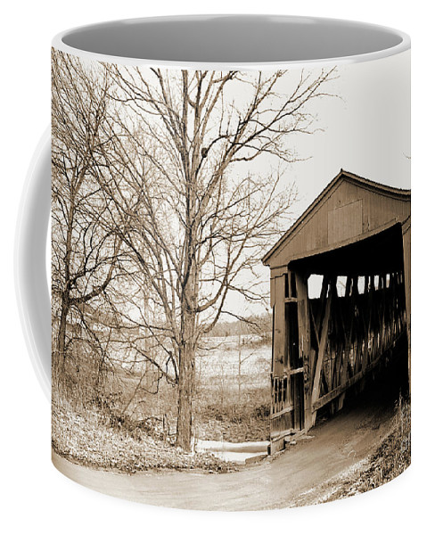 Wooden Coffee Mug featuring the photograph Enochsburg Indiana Covered Bridge by Gary Wonning