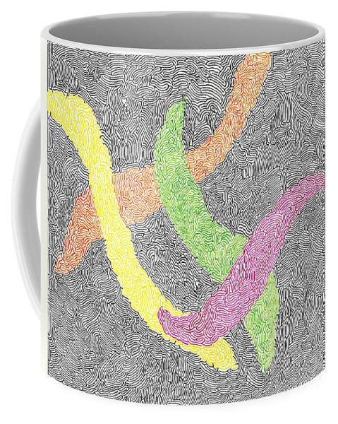 Mazes Coffee Mug featuring the drawing Entwined by Steven Natanson