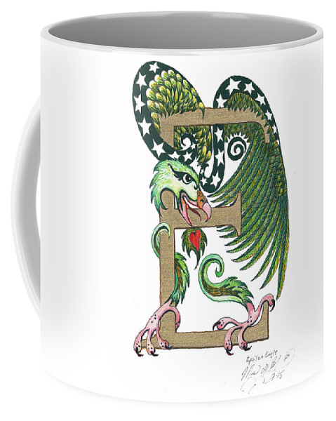 Epsilon Coffee Mug featuring the painting Epsilon Eagle In Green And Gold by Melinda Dare Benfield