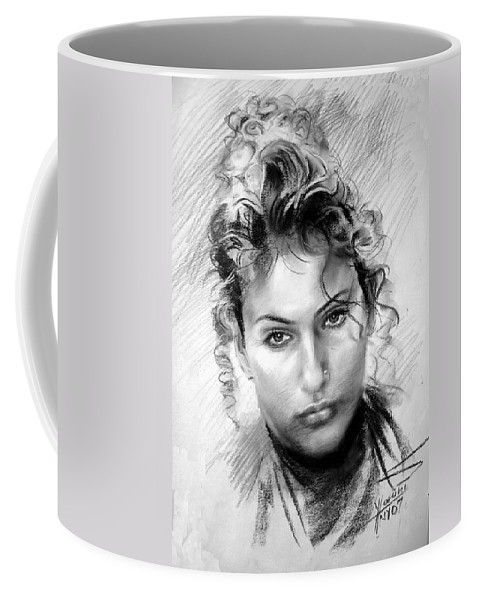 Portrait Coffee Mug featuring the drawing Erbora by Ylli Haruni