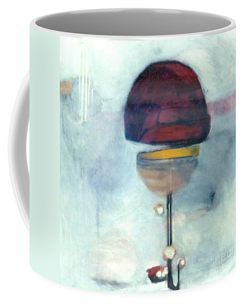 Abstract Coffee Mug featuring the painting Erev Tops Jump Shot by Marlene Burns