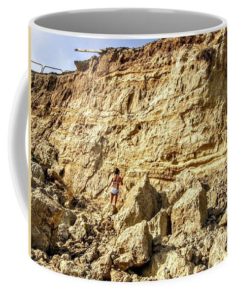 Cliff Coffee Mug featuring the photograph Eroding Graffiti Cliff 2 by Leah McPhail