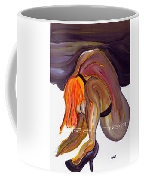 Female Abstract Coffee Mug featuring the painting Erotica - Sold by Artist Rayhart