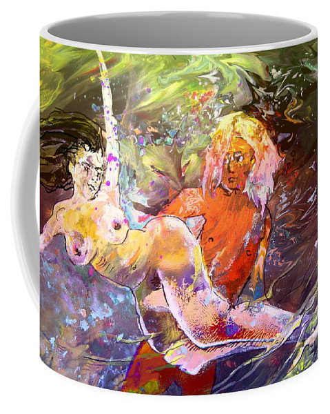 Miki Coffee Mug featuring the painting Erotype 06 1 by Miki De Goodaboom