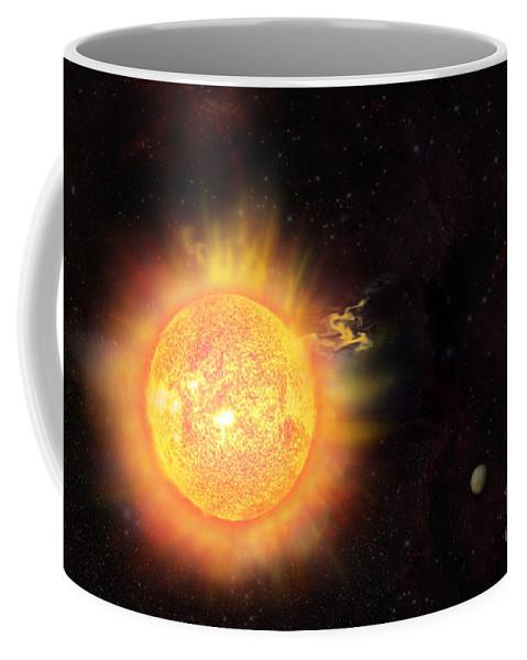 Sun Coffee Mug featuring the digital art Eruption - Solar Storm by Michal Boubin
