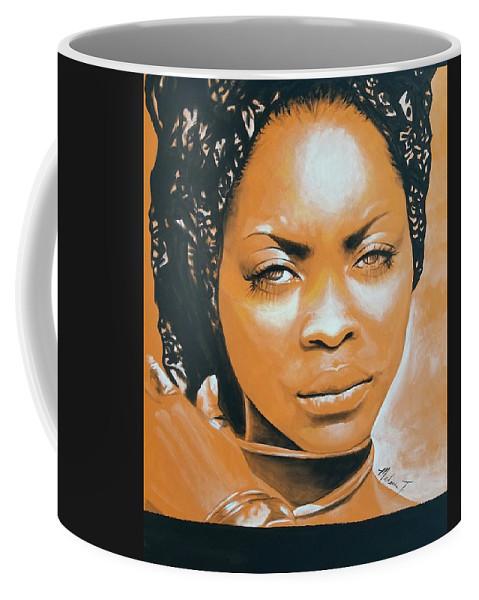 Melanie T Art Coffee Mug featuring the painting Erykah by Melanie T