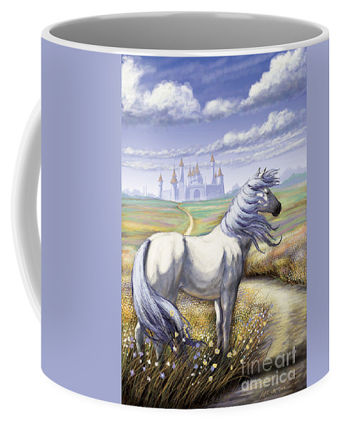 Fantasy Coffee Mug featuring the digital art Escort by Stanley Morrison
