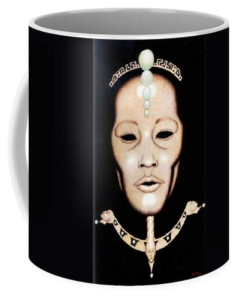 Mask Coffee Mug featuring the drawing Esoteric Masque by Jay Thomas II