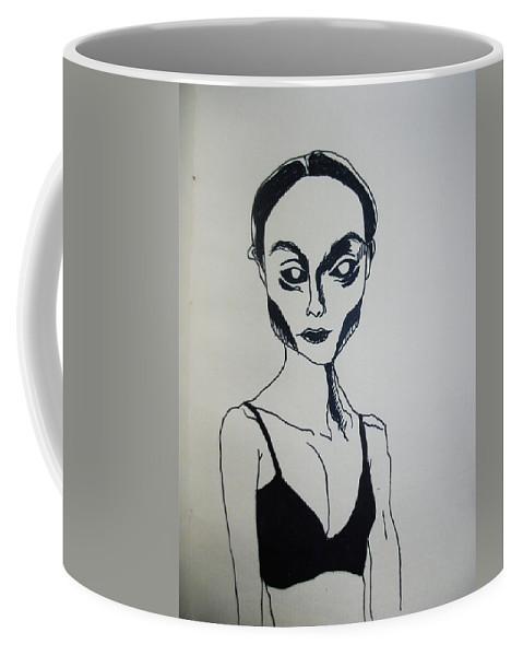 Black Coffee Mug featuring the drawing Essence Of Black Dimension by Gella Goring