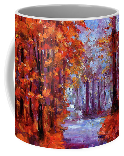 Landscape Coffee Mug featuring the painting Essence Of Fall by Debra Hurd