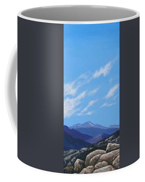 Estes Park Coffee Mug featuring the painting Estes Overlook by Hunter Jay
