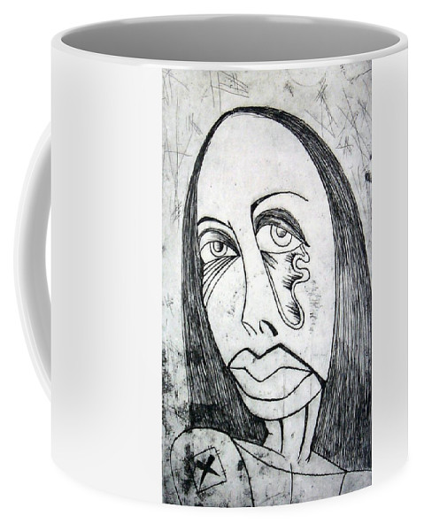 Girl Coffee Mug featuring the print Etching by Thomas Valentine