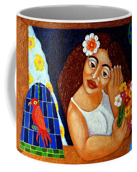 Eve Coffee Mug featuring the painting Eternal Eve - II by Madalena Lobao-Tello
