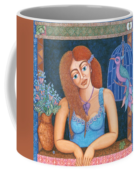 Eve Coffee Mug featuring the painting Eternal Eve by Madalena Lobao-Tello