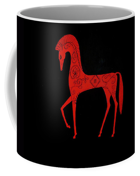 Stylized Horse Coffee Mug featuring the painting Etruscan Horse by Stephanie Moore