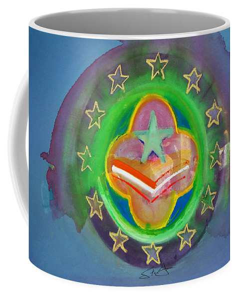 Symbol Coffee Mug featuring the painting Euro Star And Stripes by Charles Stuart