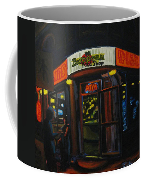 City Coffee Mug featuring the painting European Food Shop by John Malone