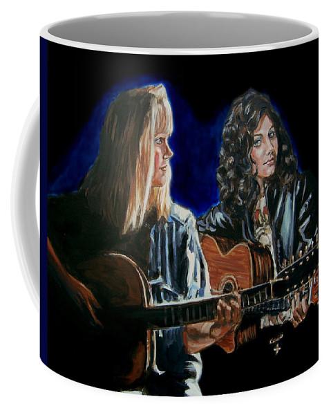Katie Melua Coffee Mug featuring the painting Eva Cassidy And Katie Melua by Bryan Bustard