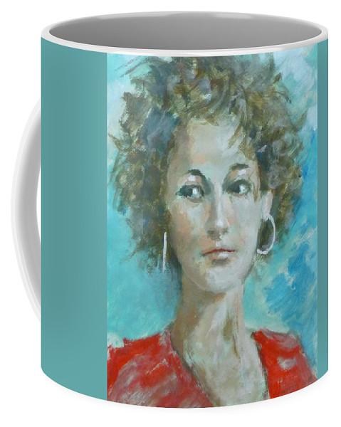 Portrait Coffee Mug featuring the painting Eva II by Bart Buijsen