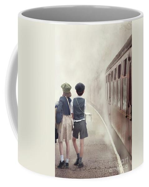 Evacuee Coffee Mug featuring the photograph Evacuee Children On The Train Platform by Lee Avison